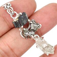 Herkimer Diamond & Meteorite Campo Del Cielo 925 Silver Pendant Jewelry SP193123