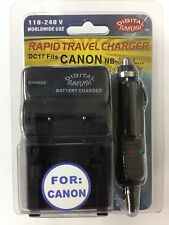 CANON NB1L/3L DC17 Battery Wall & Car Charger by Digital Sunflash - Black