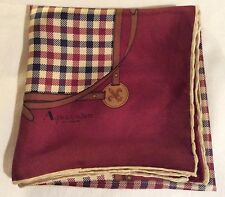 Ladies vintage AQUASCUTUM smart classic check / equestrian design SILK SCARF