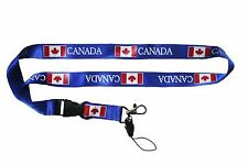 CANADA BLUE COUNTRY FLAG LANYARD KEYCHAIN PASSHOLDER ..  NEW