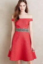 Anthropologie Moulinette Soeurs Red Fit & Flair Cocktail Dress Size 4 Minette