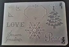 Sizzix Large Embossing Folder CHRISTMAS TREE SNOWFLAKE PEACE fits Cuttlebug