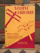 UNIVERSITY Of DENVER - Student Directory 1941-1942 - 40 page phone booklet