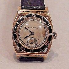 Hamilton Piping Rock 14K Gold Manual Wind with Black Bezel Men's Wristwatch