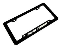 TWIN TURBO CAR TRUCK HOT ROD ENGINE LICENSE PLATE TAG FRAME BLACK