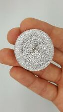 925 STERLING SILVER CUBIC ZIRCONIA CZ LARGE BIG LADIES FLORAL FLOWER RING SIZE 8