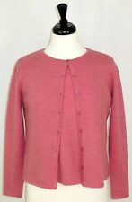 Merino Wool Short Sleeve Sweater Button Cardigan Twin Set Pink Dialogue S