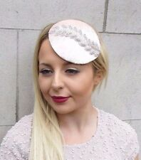 Blush Light Pink Silver Velvet Pillbox Hat Fascinator Hair Races Clip Vtg 2652