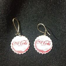 Dangle Rare Vintage 1970's Coco-Cola Bottle Cap Earrings Red and White USA