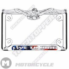 CHROME 3D AMERICAN EAGLE TOP MOTORCYCLE LICENSE PLATE FRAME - LIVE TO RIDE USA
