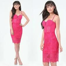 $159 NWT bebe bright pink cadence lace cutout midi bustier top dress S small 4