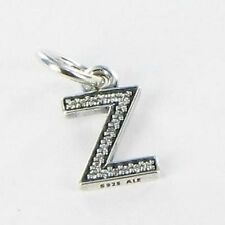 Authentic Pandora silver 925 791338cz Alphabet letter Z dangle slide charm NWOT