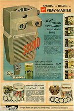 1970 PAPER AD 2 Pg Viewmaster Talking Stereo Viewer Theater Projector Lighted
