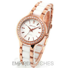 **NEW** DKNY LADIES WHITE CERAMIC ROSE GOLD WATCH NY8141 - RRP £185.00
