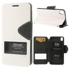 Schutz Tasche Hülle Flip Cover Case f HTC Desire 816 SLIM WEIß SCHWARZ VIEW 22B