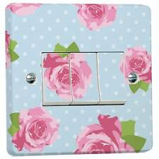 Blue Shabby Chic Pink Roses Light Switch Sticker for Crabtree Triple 3-way