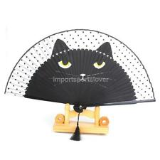 Chinese Vintage Silk SUMMER Fan Cat Painted Folding HAND Fan Portable Gift