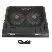 "10-17.4"" Laptop 2 Fan USB LED Cooing Cooler Pad Foldable Adjustable Stand HK"