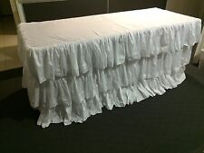 6ft Trestle Table Taffeta Ruffled White 3 Tiered Table Skirt/Cloth