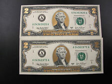 Fifty Colorized Gold Uncirulated Two Dollar Bills In Sequential Order