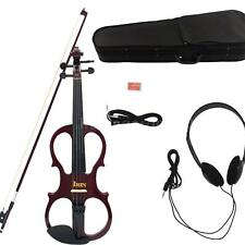 Full Size 4/4 Wood Maple Electric Violin Fiddle Ebony Cable+Headphone+Case A1H2