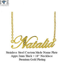 New Natalia Stainless Steel Fashion Name Pendant with Gold Plating Necklace