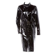 YVES SAINT LAURENT ALLIGATOR PRINT BLACK PATENT LEATHER TRENCH COAT 36 - 4