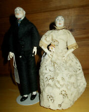 1965 hand carved Sherman Smith Grandma and Grandpa dolls bisque heads Signed