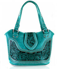 Montana West® Concealed Carry, Western Bag w/ tooled Leather Accents- Turquoise