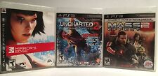 PS3 Game Bundle Of 3 - Uncharted 2, Mass Effect 2, Mirrors Edge Complete!