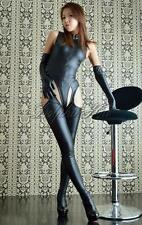 3PCS Sexy Women Faux Leather Lingerie Catsuit Bodysuit Gloves Pantihose Costume