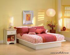 Queen Size Platform Bed Frame Modern Bedroom Furniture White Wood Foundation
