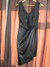 NEW £40 UK 8 River Island Dress Black Knee Length Wet Look Wrap Asymmetrical