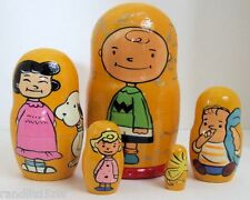 5pcs Hand Painted Russian Nesting Doll of Charlie Brown and The Peanuts