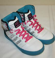 Youth Girls Adidas White Blue Pink Zebra Print High Top Sneakers Shoes Sz 5.5
