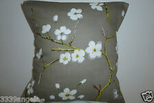 "16"" NEW CUSHION COVER BLOSSOM APPLE TAUPE  MOLESKIN EMI MULBERRY ORIENTAL FLORAL"