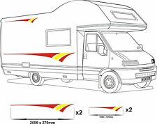 MOTORHOME VINYL GRAPHICS STICKERS DECAL CAMPER VAN RV CARAVAN HORSEBOX 2 RED YLW