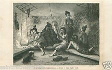 Hut Igloo Esquimaux Eskimos Canada North America GRAVURE ANTIQUE OLD PRINT 1860