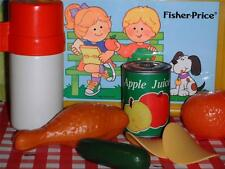 Vintage Fisher Price Picnic Lunch Box Food Lot Childrens Playfood Pretend Play
