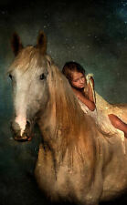 Framed Print - Young Girl Laying on the Back of a White Stallion (Picture Poster
