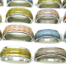 Wholesale 10Pcs Mixed Size Vintage Stylish Oil Drop Stainless Steel Rings T11