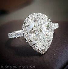 1.60ctw Natural Pear Halo Pave Diamond Engagement Ring - GIA Certified