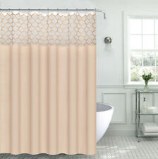 Light Gold White Embroidered Trellis Empire Fabric Shower Curtain