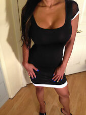 Sexy Bodycon Simple Almost Sheer Little Black Dress With open back  L
