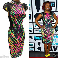 KAREN MILLEN RARE BLACK Celebrity ABSTRACT PRINT Cocktail Pencil DRESS 16 UK