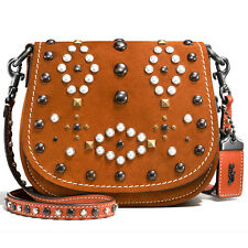 "NEW COACH 1941 Red ""WESTERN RIVETS"" Saddle Bag 17 Crossbody No.56564 -SALE"