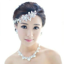 Women's Crystal Flower Pearl Bridal Hair Piece Band Tiara Accessories Decoration