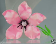 VINTAGE ENAMEL GREEN & BABY PINK DOOGWOOD OR CHERRY BLOSSOM FLOWER BROOCH/PIN