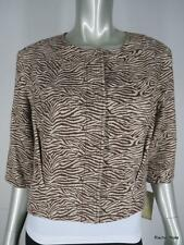 NWT $249 MICHAEL KORS P M 100% Cotton Tan Brown Zebra Cropped Jacket Blazer NEW