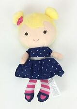 New Carters CHILD OF MINE Blonde RATTLE Doll NAVY Polka Dot Dress Pink Flower 7""